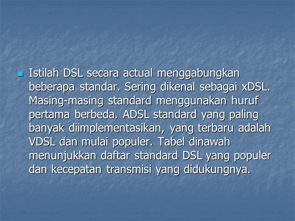 Istilah DSL secara actual menggabungkan beberapa standar. Sering dikenal sebagai xDSL. Masing-masing standard menggunakan huruf pertama berbeda. ADSL