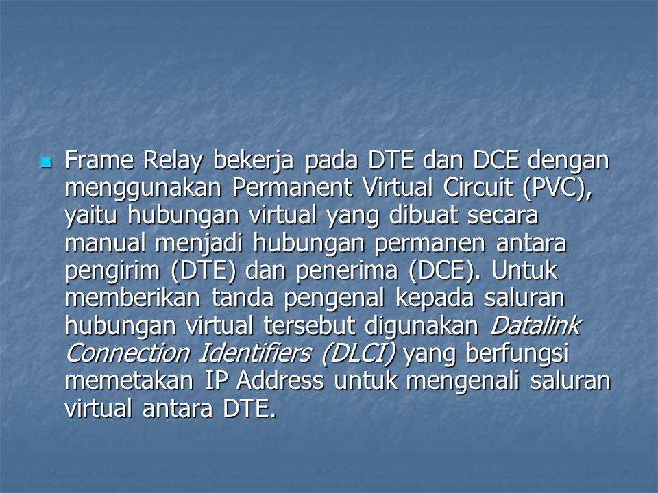 Frame Relay bekerja pada DTE dan DCE dengan menggunakan Permanent Virtual Circuit (PVC), yaitu hubungan virtual yang dibuat secara manual menjadi hubu