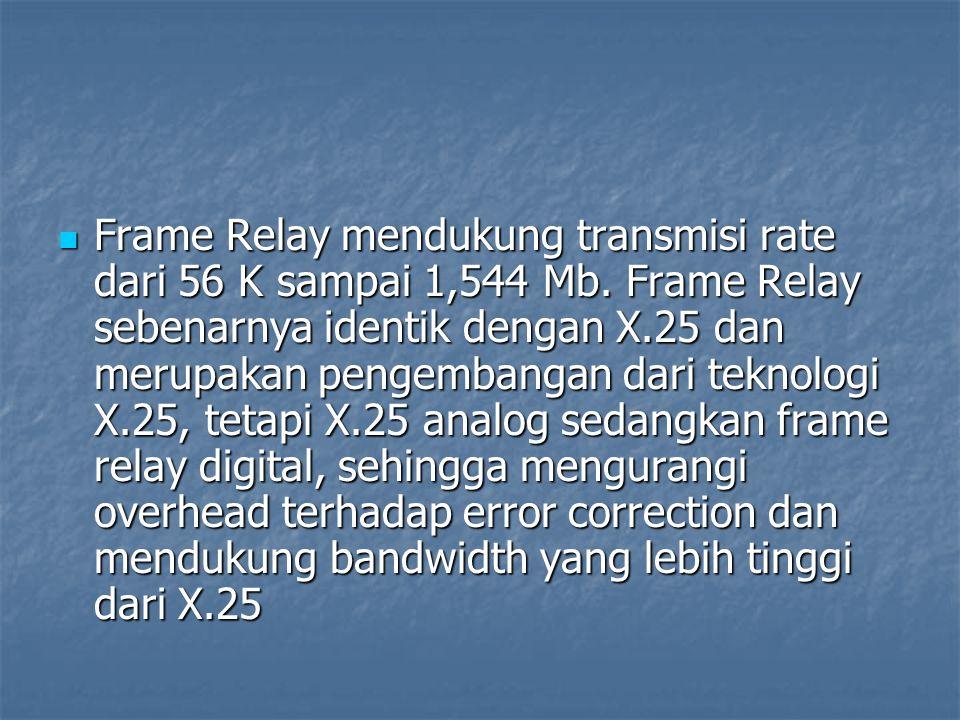 Frame Relay mendukung transmisi rate dari 56 K sampai 1,544 Mb. Frame Relay sebenarnya identik dengan X.25 dan merupakan pengembangan dari teknologi X