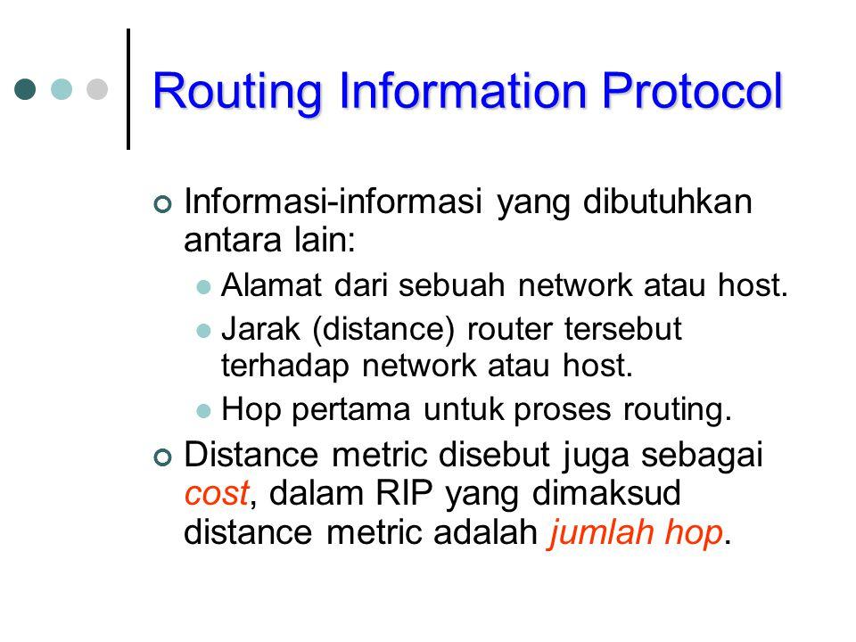 Routing Information Protocol Jika sebuah router terhubung ke sebuah network maka distance metric adalah 1 hop.