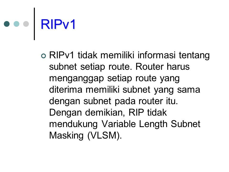 RIPv2 RIPv2 berupaya untuk menghasilkan beberapa perbaikan atas RIP, yaitu dukungan untuk VLSM, menggunakan autentikasi, memberikan informasi hop berikut (next hop), dan multicast.
