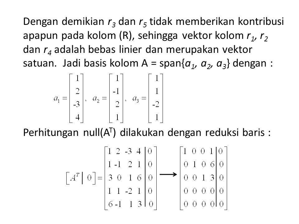 Dengan demikian r 3 dan r 5 tidak memberikan kontribusi apapun pada kolom (R), sehingga vektor kolom r 1, r 2 dan r 4 adalah bebas linier dan merupakan vektor satuan.
