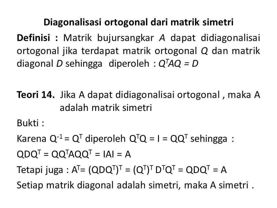 Diagonalisasi ortogonal dari matrik simetri Definisi : Matrik bujursangkar A dapat didiagonalisai ortogonal jika terdapat matrik ortogonal Q dan matrik diagonal D sehingga diperoleh : Q T AQ = D Teori 14.
