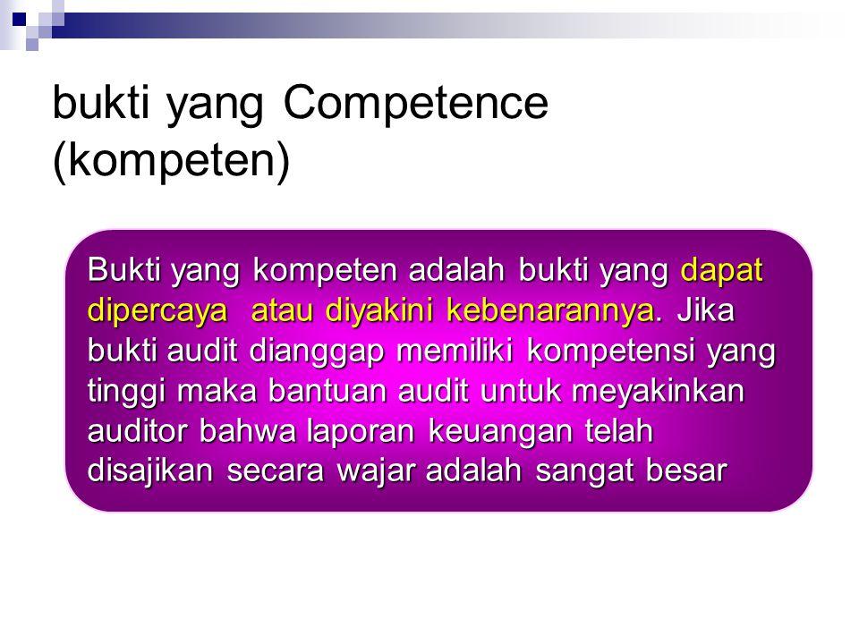 Bukti audit yang meyakinkan Competence (kompeten) Sufficiency (cukup) Combined effect (efek gabungan) Persuasiveness and cost (tingkat keyakinan dan biaya) biaya)
