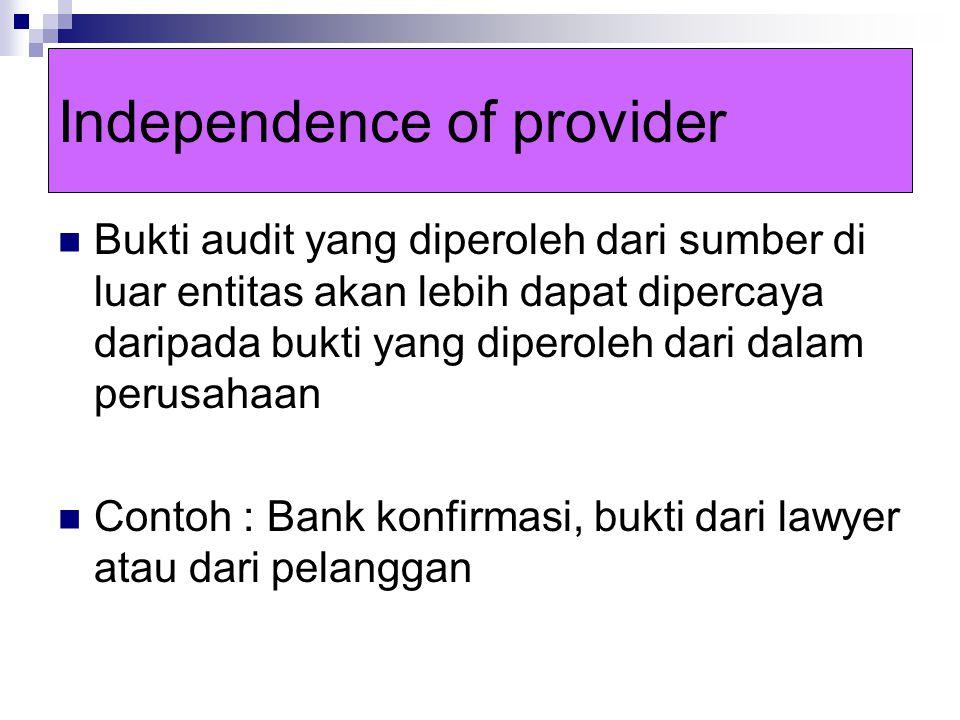 Relevance Bukti audit harus relevan dengan tujuan audit yang akan diuji oleh auditor sebelum bukti tersebut dapat dipercaya Bukti audit akan relevan terhadap suatu tujuan audit tetapi mungkin tidak relevan terhadap tujuan audit yang lain