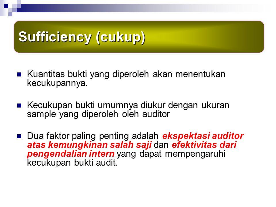Timeliness Ketepatan waktu atas bukti audit adalah bukti yang merujuk kepada periode waktu yang diaudit.