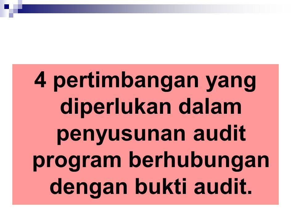 4 pertimbangan yang diperlukan dalam penyusunan audit program berhubungan dengan bukti audit.
