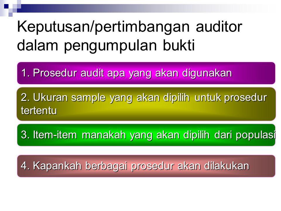 Keputusan/pertimbangan auditor dalam pengumpulan bukti 1.