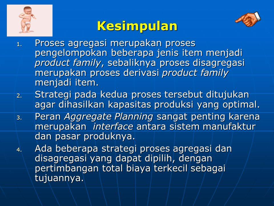 Kesimpulan 1. Proses agregasi merupakan proses pengelompokan beberapa jenis item menjadi product family, sebaliknya proses disagregasi merupakan prose