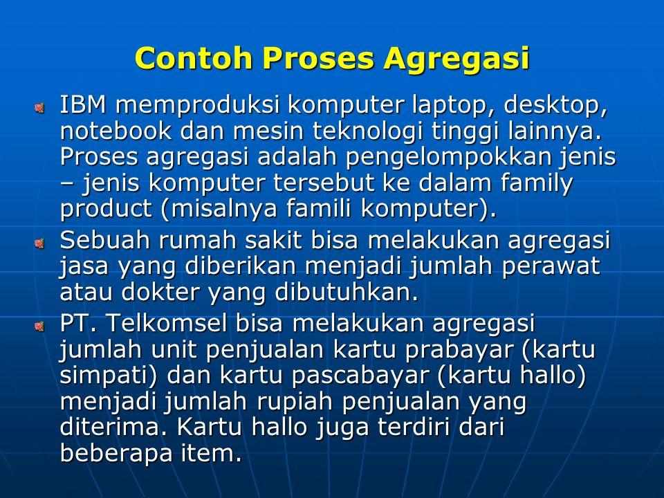Contoh Proses Agregasi IBM memproduksi komputer laptop, desktop, notebook dan mesin teknologi tinggi lainnya. Proses agregasi adalah pengelompokkan je