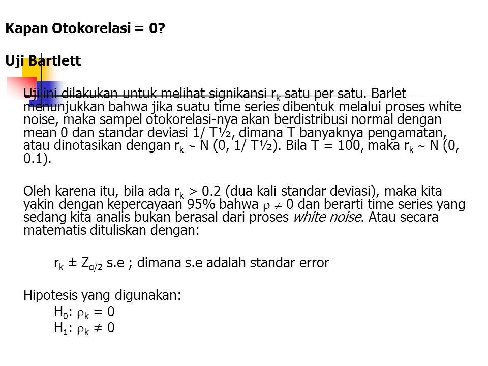 Kapan Otokorelasi = 0? Uji Bartlett Uji ini dilakukan untuk melihat signikansi r k satu per satu. Barlet menunjukkan bahwa jika suatu time series dibe