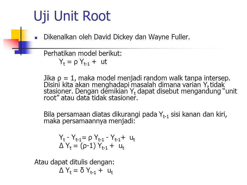 Uji Unit Root Dikenalkan oleh David Dickey dan Wayne Fuller. Perhatikan model berikut: Y t = ρ Y t-1 + ut Jika ρ = 1, maka model menjadi random walk t