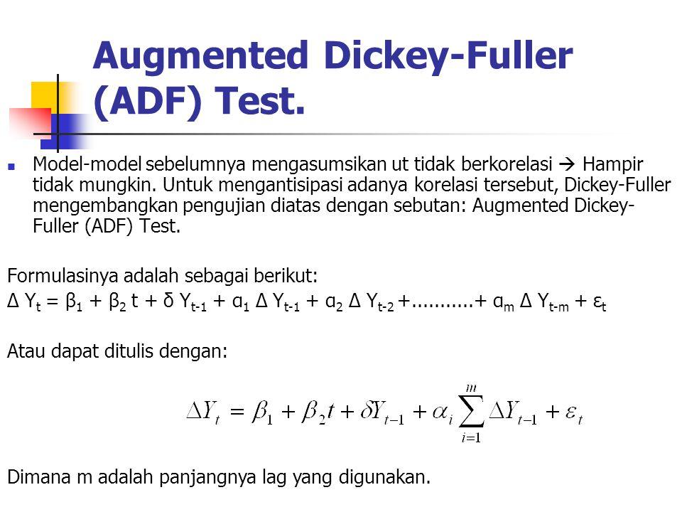 Augmented Dickey-Fuller (ADF) Test. Model-model sebelumnya mengasumsikan ut tidak berkorelasi  Hampir tidak mungkin. Untuk mengantisipasi adanya kore