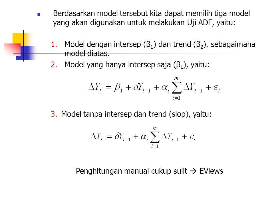 Berdasarkan model tersebut kita dapat memilih tiga model yang akan digunakan untuk melakukan Uji ADF, yaitu: 1.Model dengan intersep (β 1 ) dan trend