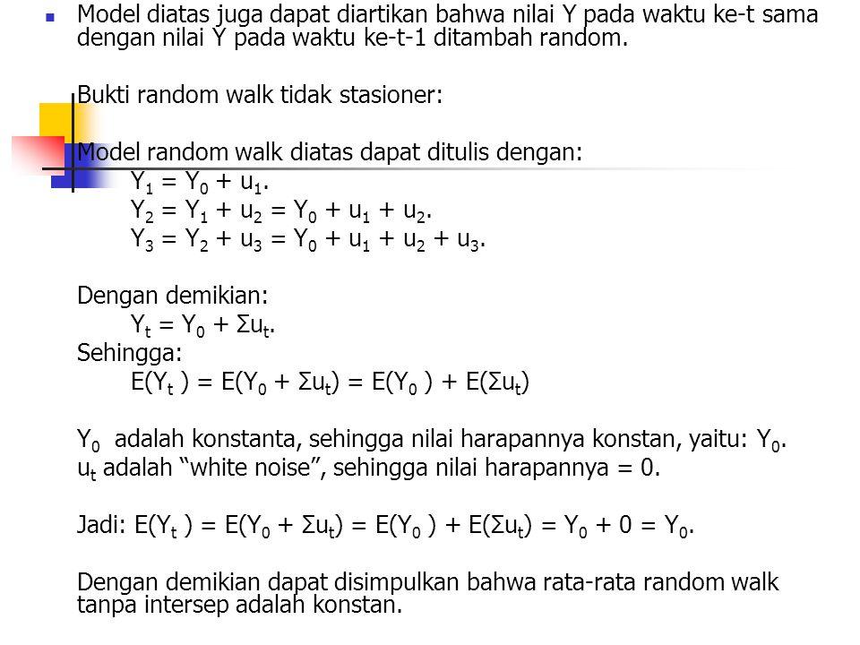 Model diatas juga dapat diartikan bahwa nilai Y pada waktu ke-t sama dengan nilai Y pada waktu ke-t-1 ditambah random. Bukti random walk tidak stasion