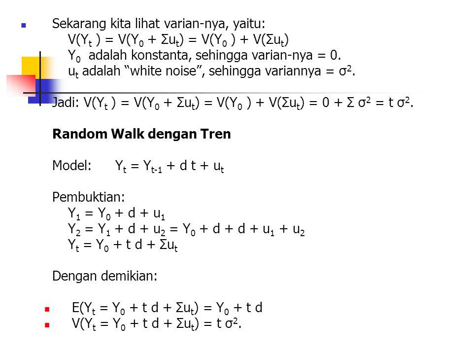 """Sekarang kita lihat varian-nya, yaitu: V(Y t ) = V(Y 0 + Σu t ) = V(Y 0 ) + V(Σu t ) Y 0 adalah konstanta, sehingga varian-nya = 0. u t adalah """"white"""