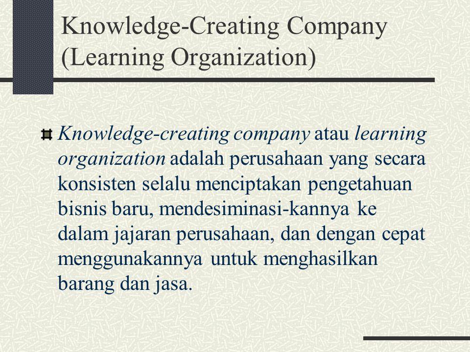 Mengeksploitasi dua jenis pengetahuan : Pengetahuan eksplisit : Data, dokumen, semua bentuk tulisan Pengetahuan How-to yang terdapat pada setiap karyawan Kunci sukses dari knowledge management adalah menciptakan teknik dan reward untuk membawa karyawan mau sharing apa yang mereka ketahui dan memanfaatkan sebaik-baiknya akumulasi pengetahuan di tempat kerja.