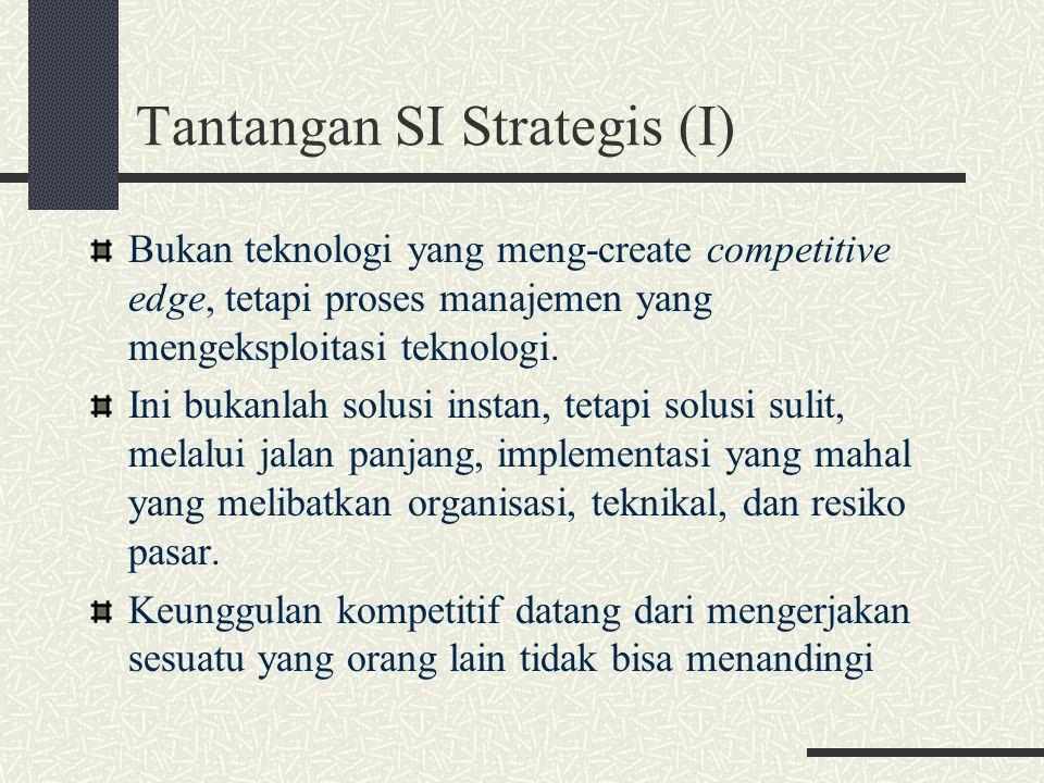 Tantangan SI Strategis (I) Bukan teknologi yang meng-create competitive edge, tetapi proses manajemen yang mengeksploitasi teknologi. Ini bukanlah sol