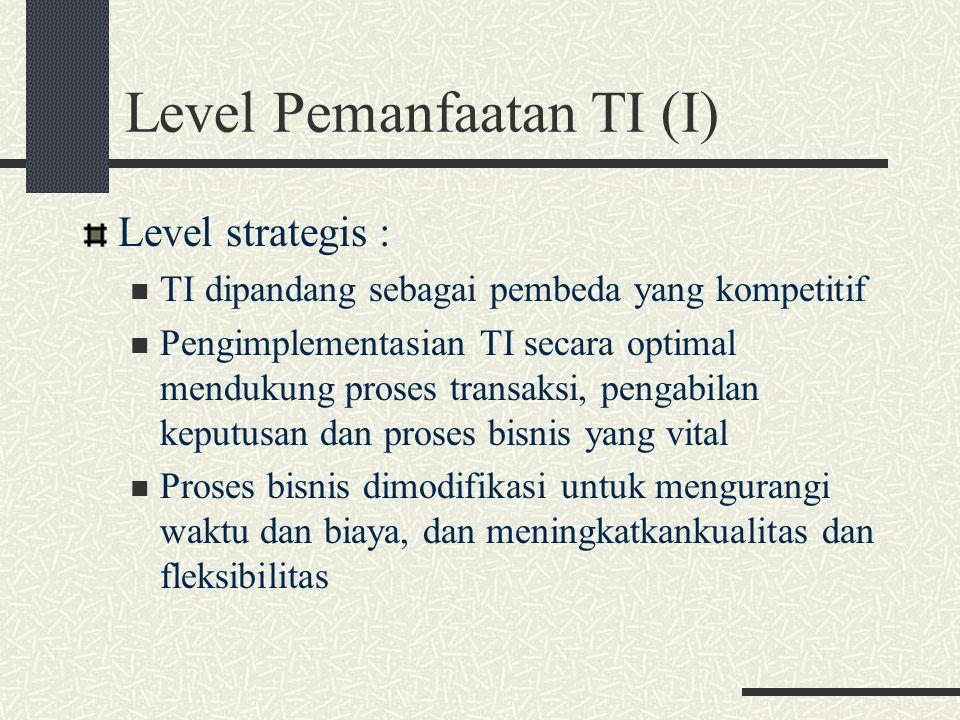 Level Pemanfaatan TI (II) Level Ofensif : TI dipandang sebagai suatu titik pendongkarak daripada sebagai pembeda kompetitif Jaringan PC dan server berkembang pesat di dalam organisasi Organisasi sudah mempunyai komitmen untuk memaksimalkan manfaat yang didapat dengan pengimplementasian Teknologi Informasi