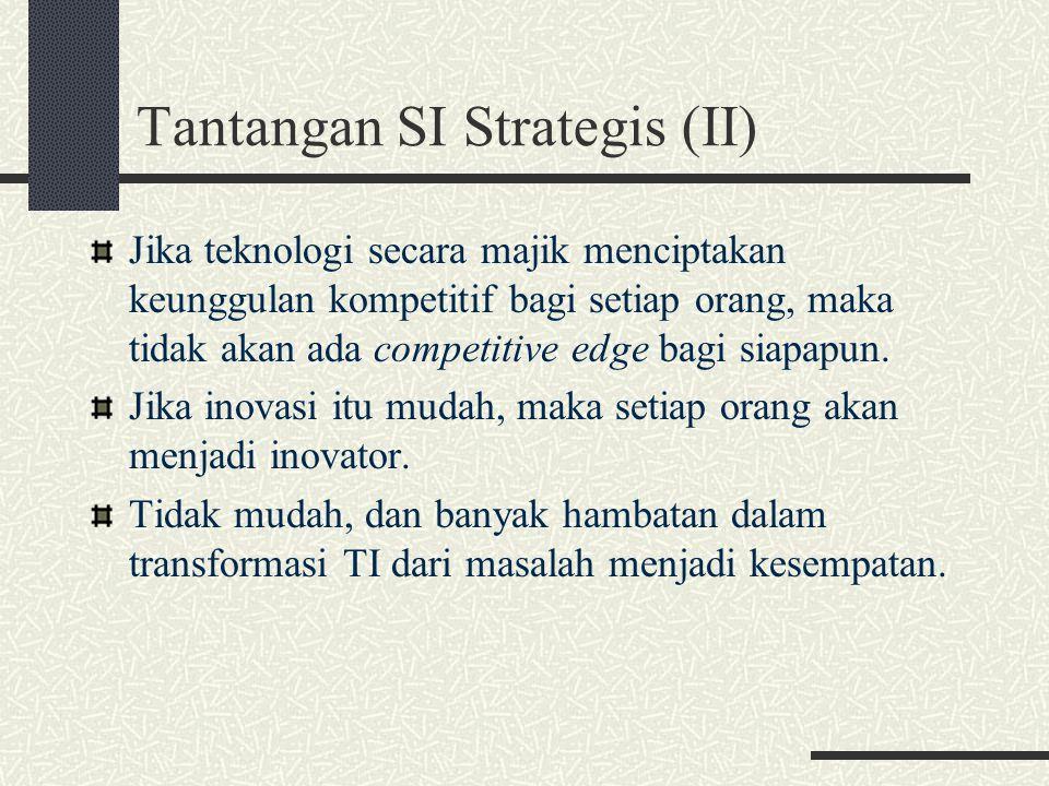 Tantangan SI Strategis (II) Jika teknologi secara majik menciptakan keunggulan kompetitif bagi setiap orang, maka tidak akan ada competitive edge bagi
