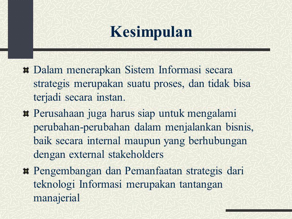 Dalam menerapkan Sistem Informasi secara strategis merupakan suatu proses, dan tidak bisa terjadi secara instan. Perusahaan juga harus siap untuk meng