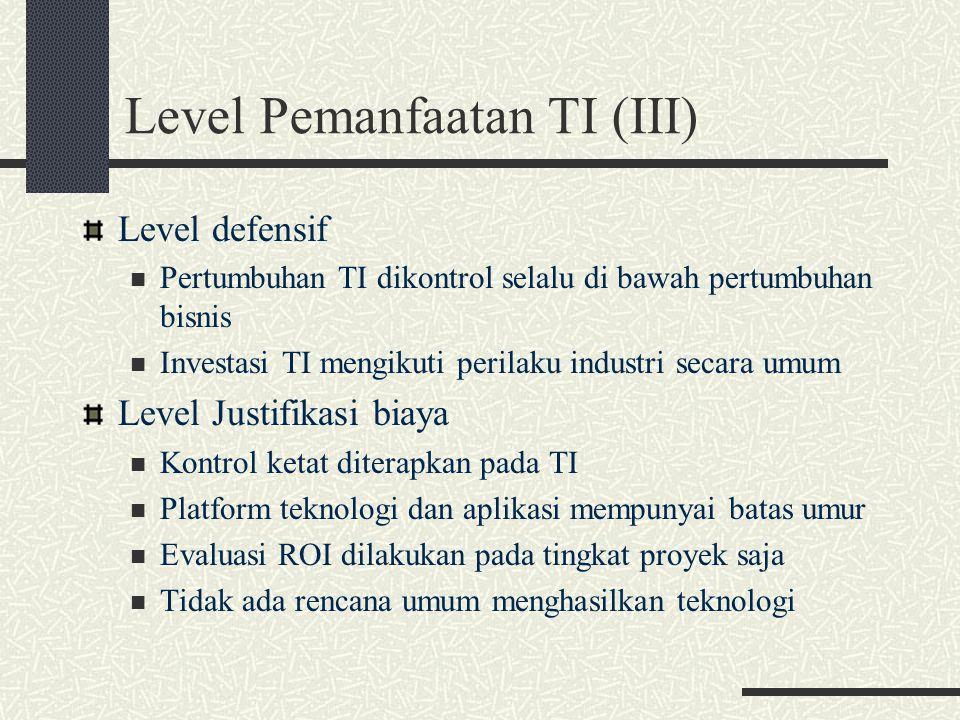 Level Pemanfaatan TI (III) Level defensif Pertumbuhan TI dikontrol selalu di bawah pertumbuhan bisnis Investasi TI mengikuti perilaku industri secara