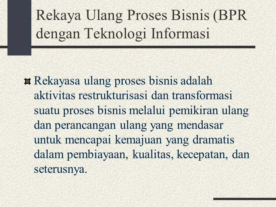 Rekaya Ulang Proses Bisnis (BPR dengan Teknologi Informasi Rekayasa ulang proses bisnis adalah aktivitas restrukturisasi dan transformasi suatu proses
