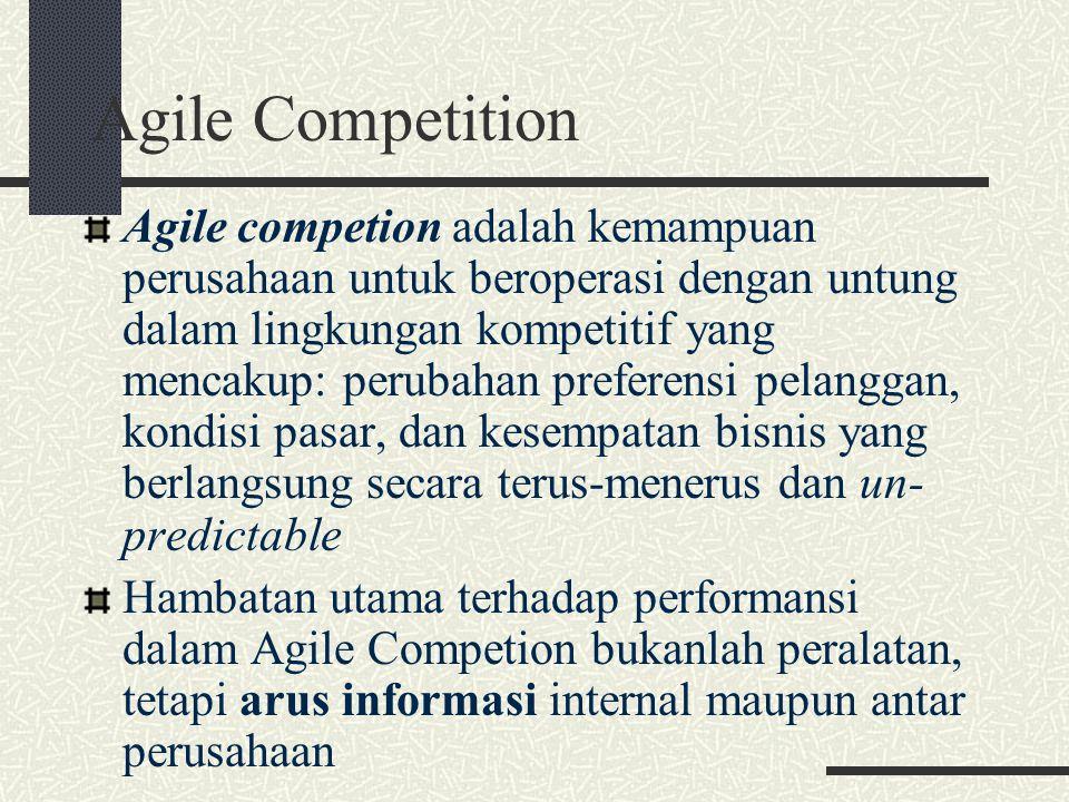 Agile Competition Agile competion adalah kemampuan perusahaan untuk beroperasi dengan untung dalam lingkungan kompetitif yang mencakup: perubahan pref