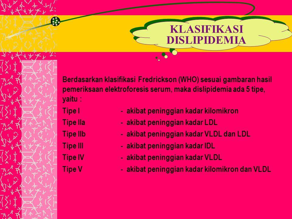 Berdasarkan klasifikasi Fredrickson (WHO) sesuai gambaran hasil pemeriksaan elektroforesis serum, maka dislipidemia ada 5 tipe, yaitu : Tipe I- akibat