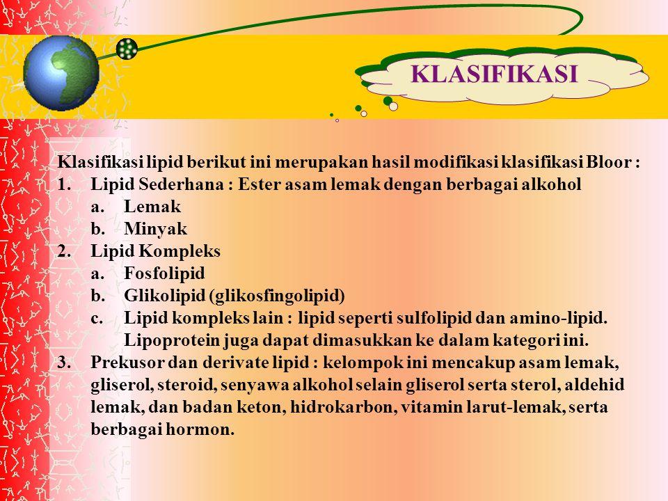 KLASIFIKASI Klasifikasi lipid berikut ini merupakan hasil modifikasi klasifikasi Bloor : 1.Lipid Sederhana : Ester asam lemak dengan berbagai alkohol