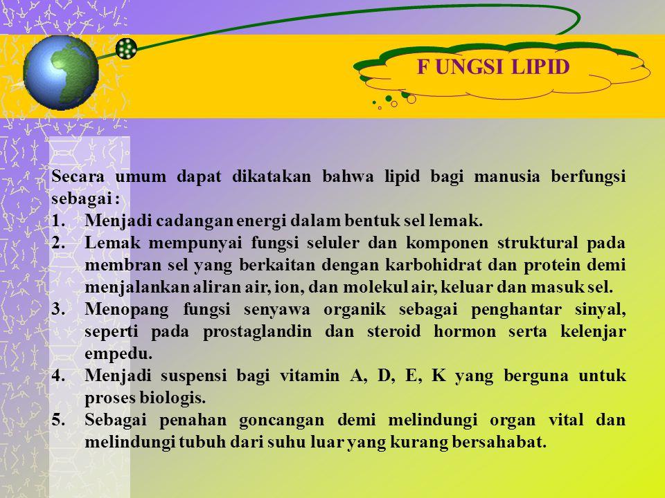 F UNGSI LIPID Secara umum dapat dikatakan bahwa lipid bagi manusia berfungsi sebagai : 1.Menjadi cadangan energi dalam bentuk sel lemak. 2.Lemak mempu