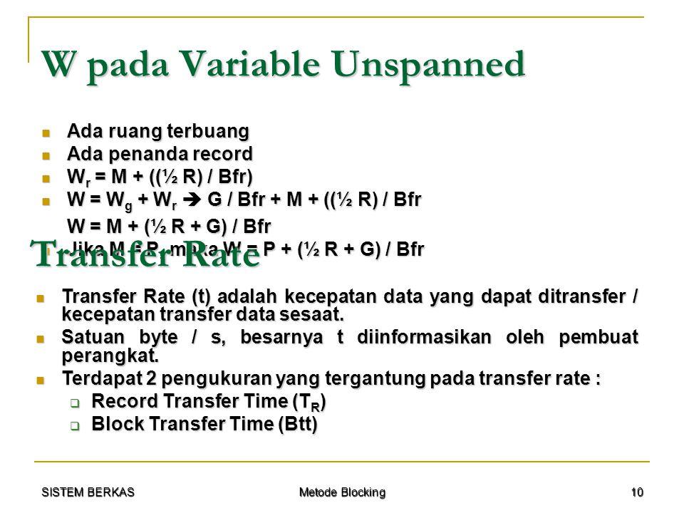 SISTEM BERKAS Metode Blocking 10 W pada Variable Unspanned Ada ruang terbuang Ada ruang terbuang Ada penanda record Ada penanda record W r = M + ((½ R