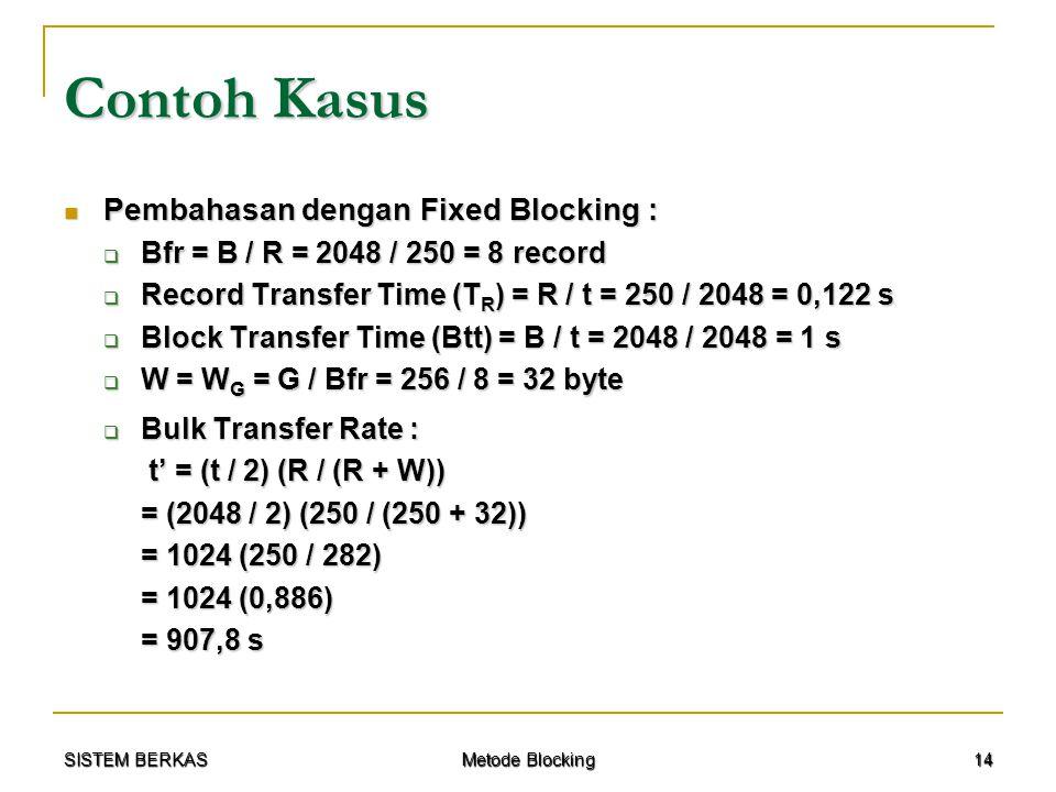 SISTEM BERKAS Metode Blocking 14 Contoh Kasus Pembahasan dengan Fixed Blocking : Pembahasan dengan Fixed Blocking :  Bfr = B / R = 2048 / 250 = 8 rec