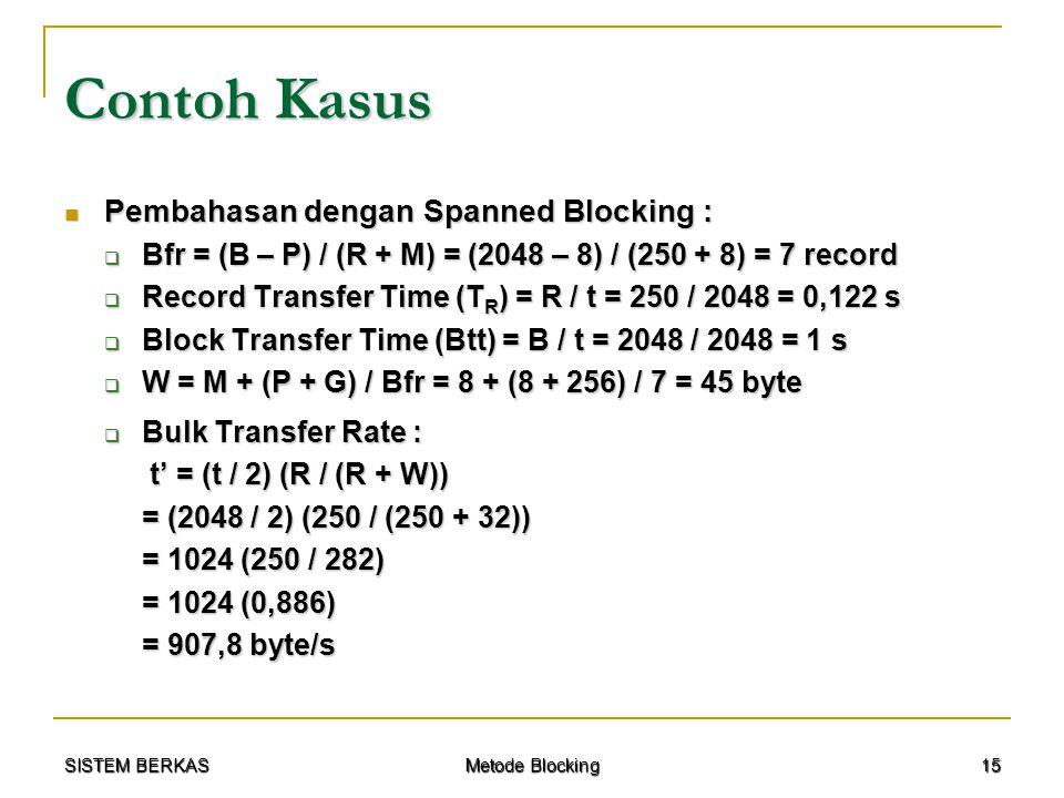 SISTEM BERKAS Metode Blocking 15 Contoh Kasus Pembahasan dengan Spanned Blocking : Pembahasan dengan Spanned Blocking :  Bfr = (B – P) / (R + M) = (2