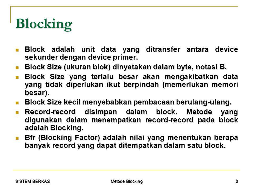 SISTEM BERKAS Metode Blocking 13 Contoh Kasus Ditanya : Ditanya :  Blocking Factor  Record Transfer Time  Block Transfer Time  Pemborosan Ruang (Waste)  Bulk Transfer Rate Jika metode blockingnya : Jika metode blockingnya :  Fixed blocking  Variable spanned  Variable unspanned
