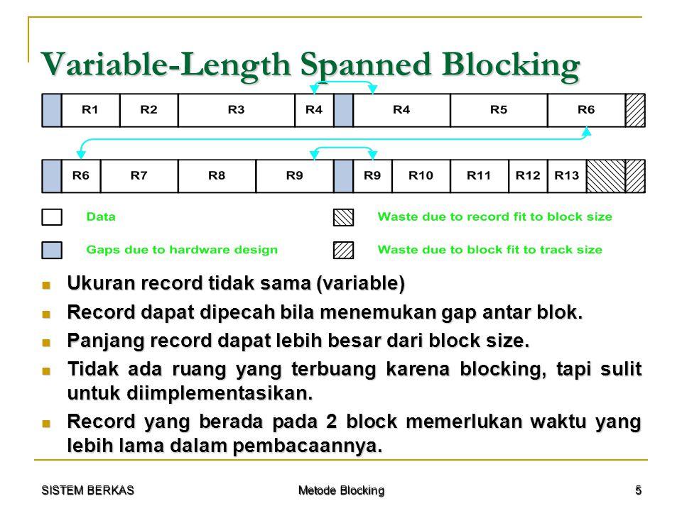 SISTEM BERKAS Metode Blocking 16 Contoh Kasus Pembahasan dengan Unspanned Blocking : Pembahasan dengan Unspanned Blocking :  Bfr = (B – ½ R) / (R + M) = (2048 – ½ (250)) / (250 + 8) = 7 rec  Record Transfer Time (T R ) = R / t = 250 / 2048 = 0,122 s  Block Transfer Time (Btt) = B / t = 2048 / 2048 = 1 s  W = M + (½ R + G) / Bfr = 8 + (½ (250) + 256) / 7 = 62 byte  Bulk Transfer Rate : t' = (t / 2) (R / (R + W)) t' = (t / 2) (R / (R + W)) = (2048 / 2) (250 / (250 + 32)) = 1024 (250 / 282) = 1024 (0,886) = 907,8 s