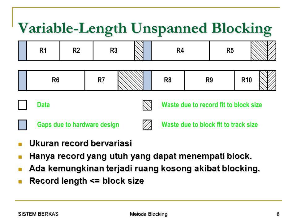 SISTEM BERKAS Metode Blocking 6 Variable-Length Unspanned Blocking Ukuran record bervariasi Ukuran record bervariasi Hanya record yang utuh yang dapat