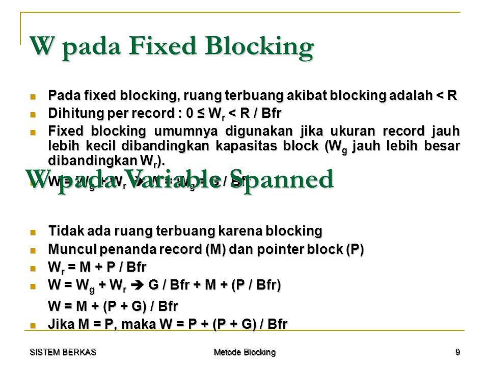 SISTEM BERKAS Metode Blocking 10 W pada Variable Unspanned Ada ruang terbuang Ada ruang terbuang Ada penanda record Ada penanda record W r = M + ((½ R) / Bfr) W r = M + ((½ R) / Bfr) W = W g + W r  G / Bfr + M + ((½ R) / Bfr W = W g + W r  G / Bfr + M + ((½ R) / Bfr W = M + (½ R + G) / Bfr Jika M = P, maka W = P + (½ R + G) / Bfr Jika M = P, maka W = P + (½ R + G) / Bfr Transfer Rate (t) adalah kecepatan data yang dapat ditransfer / kecepatan transfer data sesaat.