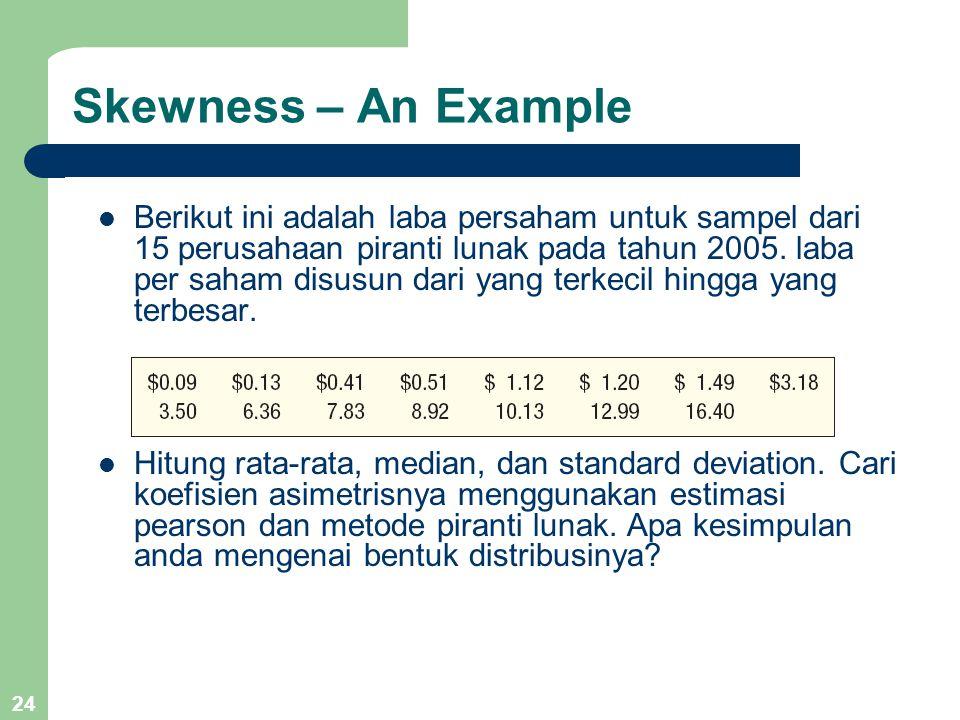 24 Skewness – An Example Berikut ini adalah laba persaham untuk sampel dari 15 perusahaan piranti lunak pada tahun 2005. laba per saham disusun dari y