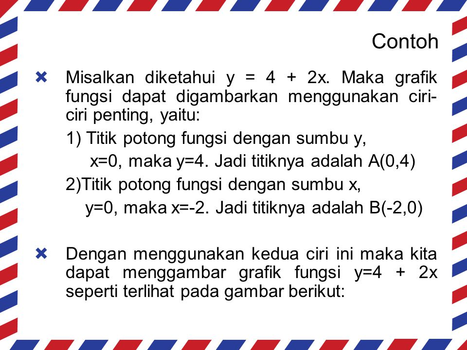 Contoh y = 4 + 2x (-2,0) (0,4)