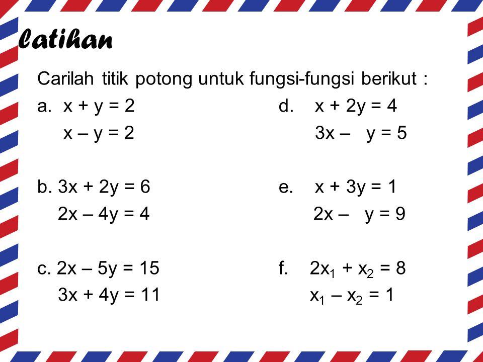 latihan Carilah titik potong untuk fungsi-fungsi berikut : a. x + y = 2d. x + 2y = 4 x – y = 2 3x – y = 5 b. 3x + 2y = 6e. x + 3y = 1 2x – 4y = 4 2x –