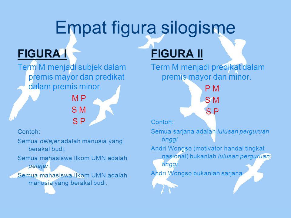 Empat figura silogisme FIGURA I Term M menjadi subjek dalam premis mayor dan predikat dalam premis minor. M P S M S P Contoh: Semua pelajar adalah man