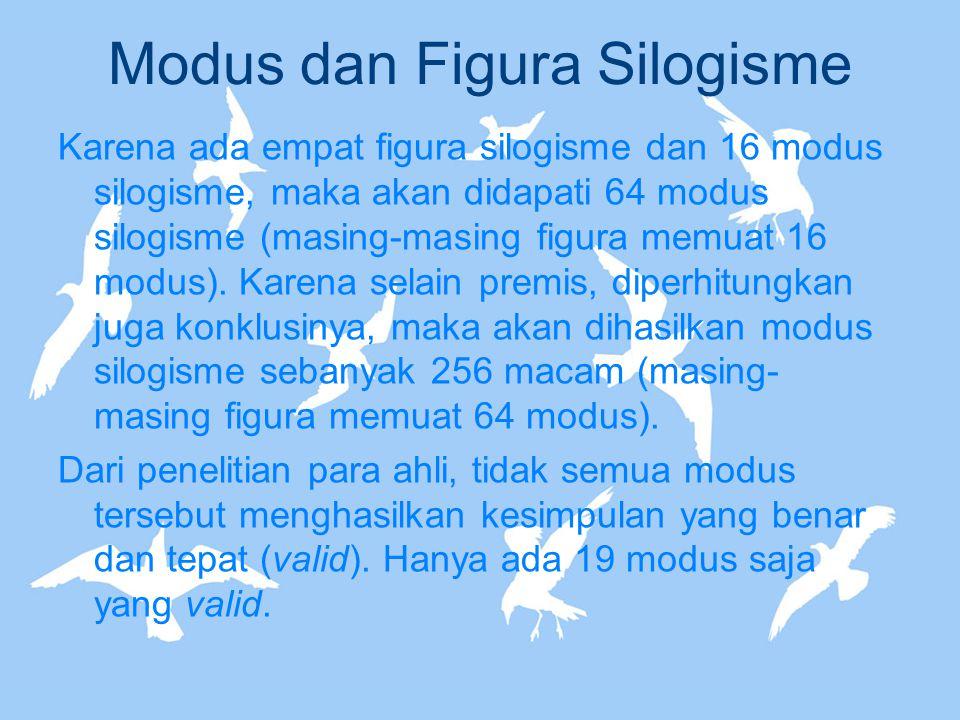 Modus dan Figura Silogisme Karena ada empat figura silogisme dan 16 modus silogisme, maka akan didapati 64 modus silogisme (masing-masing figura memua