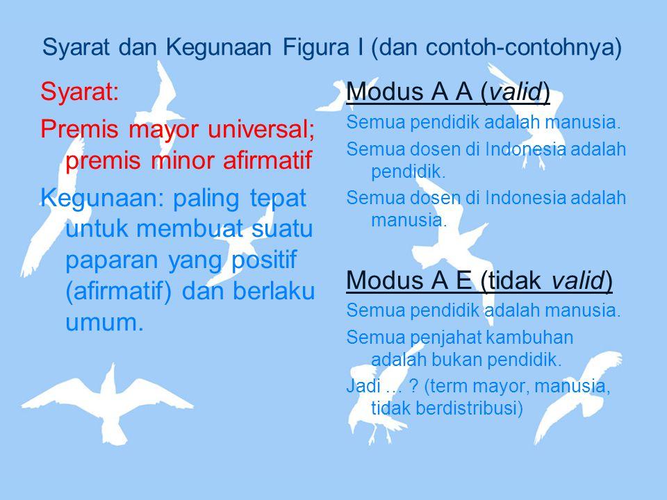 Syarat dan Kegunaan Figura I (dan contoh-contohnya) Syarat: Premis mayor universal; premis minor afirmatif Kegunaan: paling tepat untuk membuat suatu