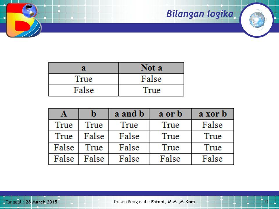 Tanggal : 28 March 2015 Dosen Pengasuh : Fatoni, M.M.,M.Kom.11 Bilangan logika