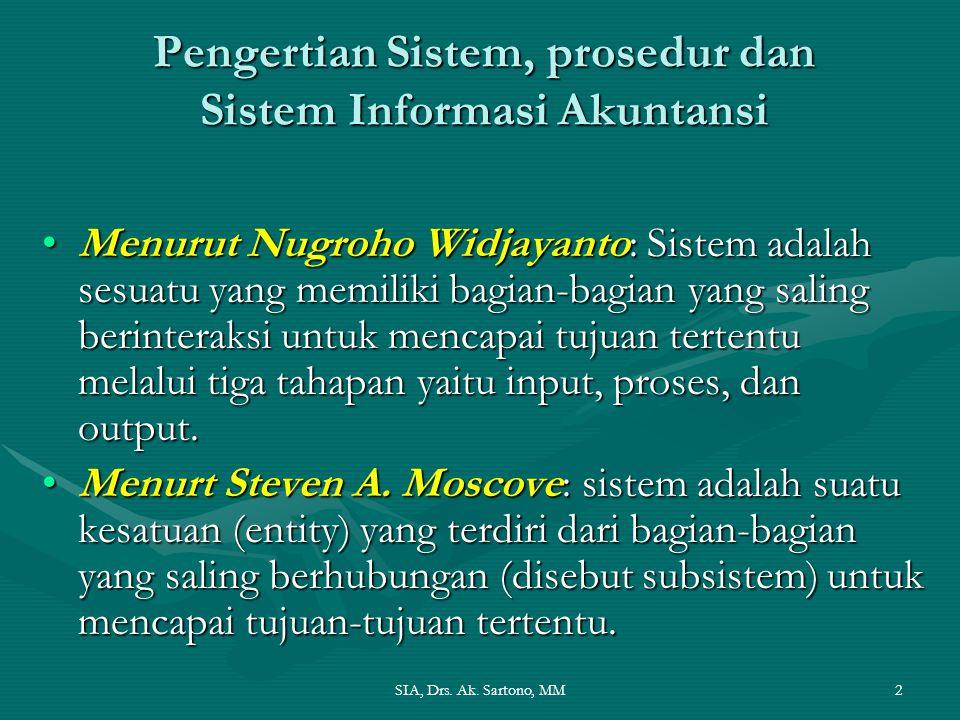 SIA, Drs. Ak. Sartono, MM2 Pengertian Sistem, prosedur dan Sistem Informasi Akuntansi Menurut Nugroho Widjayanto: Sistem adalah sesuatu yang memiliki