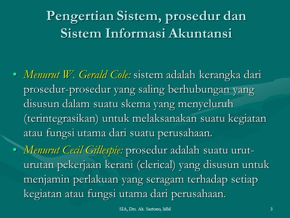 SIA, Drs. Ak. Sartono, MM3 Pengertian Sistem, prosedur dan Sistem Informasi Akuntansi Menurut W. Gerald Cole: sistem adalah kerangka dari prosedur-pro