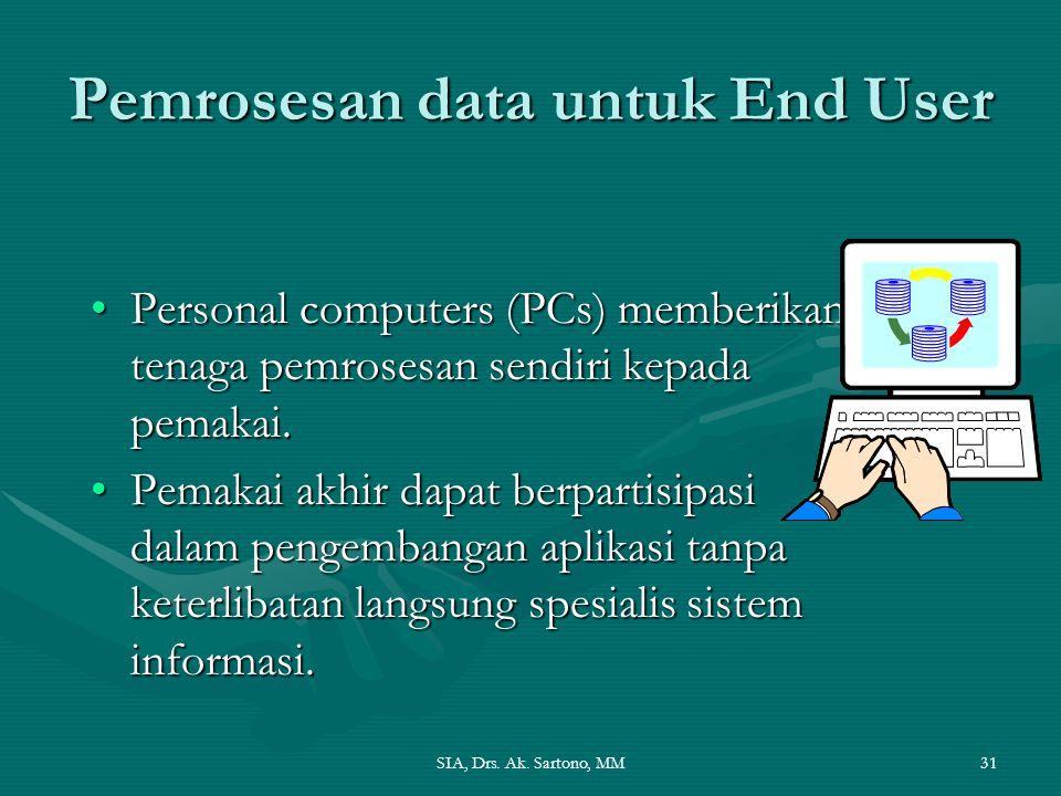 SIA, Drs. Ak. Sartono, MM31 Pemrosesan data untuk End User Personal computers (PCs) memberikan tenaga pemrosesan sendiri kepada pemakai.Personal compu