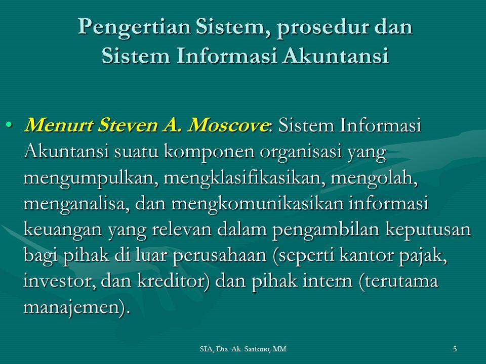 SIA, Drs. Ak. Sartono, MM5 Pengertian Sistem, prosedur dan Sistem Informasi Akuntansi Menurt Steven A. Moscove: Sistem Informasi Akuntansi suatu kompo