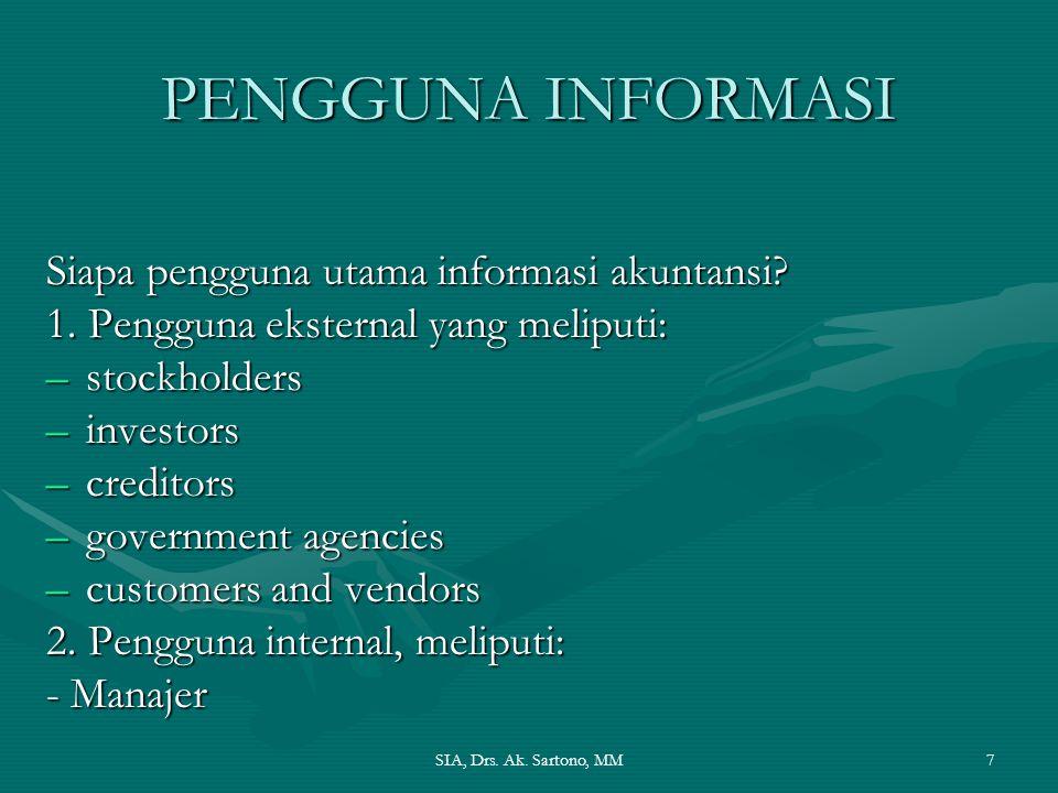 SIA, Drs. Ak. Sartono, MM7 PENGGUNA INFORMASI Siapa pengguna utama informasi akuntansi? 1. Pengguna eksternal yang meliputi: –stockholders –investors